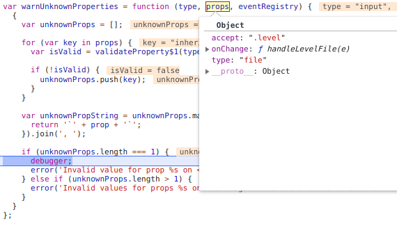 The debugger stopped right before React warns of the unexpected prop