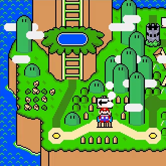 Screenshot of the overworld map in Super Mario World